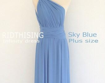 Plus Size Sky Blue Bridesmaid Dress Maxi infinity Dress Prom Dress Convertible Dress Wrap Dress