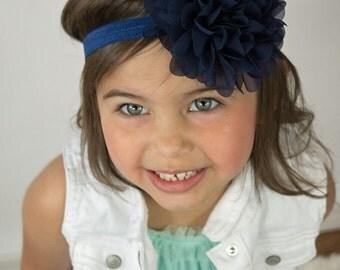 Navy flower headband - large flower headband - baby headband - infant hair band - baby hair band - headband - stretchy headband - hair band