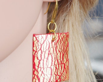 Red Earrings  Gold Drop Earrings Red Dangle Earrings Red Polymer Clay Earrings Red  Gold Earrings Cristmas gift  idea for her