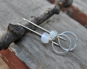 Moonstone Earrings, Silver Hoop Earrings, Gemstone Earrings