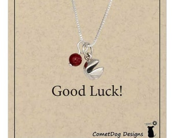 Sterling Silver Chinese Fortune Cookie Pendant Necklace with Red Riverstone Bead