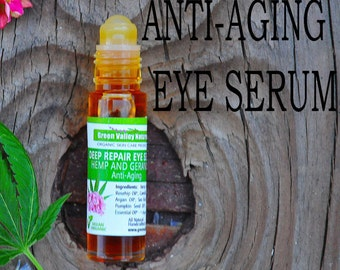 Hemp Deep Repair Eye Serum. Anti-Aging. Organic. Fights fine lines, puffiness, wrinkles. Rejuvenating oils, highly concentrated. Organic