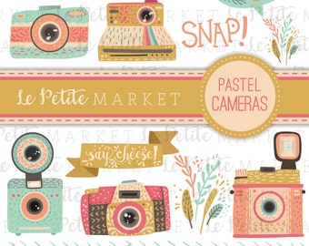 Camera Clipart Set, Digital Camera Illustration, Pastel Handdrawn Camera Clip Art, Camera Logo, Photography Clipart, Cute Camera Clipart