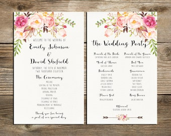 Wedding program printable, Bohemian Pink and ivory Floral Wedding Program Boho Watercolor Flower Ceremony Program digital files - PF-18