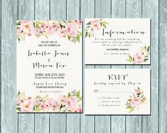 Invitation kit Wedding Invitation Floral pink and green watercolor invitations Set/Suite Information RSVP Cards Printable digital files