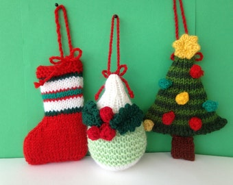 Knitted Christmas decorations / ornaments.Knitted Christmas gift / Stocking filler.