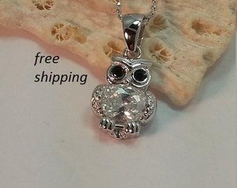 Sterling silver owl pendant ,  cz stones