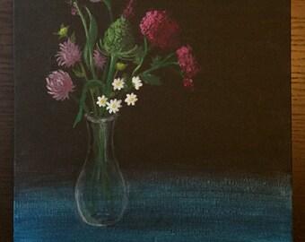 Wildflower Bouquet - Original Acrylic Painting on 12 x 16 Canvas