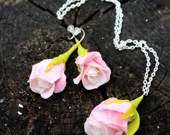 Rose jewelry, Rose pendant, Rose earrings, Pink jewelry - Cold porcelain jewelry for her