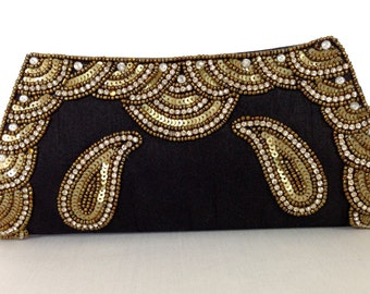 Tarini Black clutch # Black minaudiere # Portefeuille Femmes # Black Gold sequin clutch wardrobe must have # Black silk evening clutch