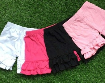 Girls ruffle shorts, ruffle shorts, girls shorts, double ruffle shorts