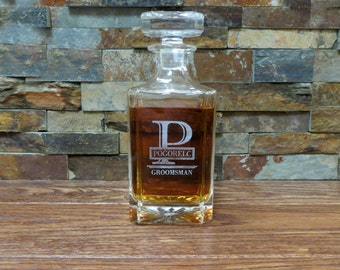 Groomsmen Personalized Whiskey Decanter - Liquor Bottle - Groomsmen Gift- Best Man Gift- Groomsman - Gifts for Men - Grandfather- Father