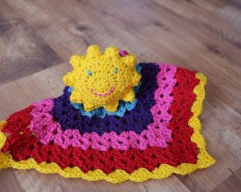 You Are My Sunshine, Crochet Lovey, Rainbow Lovey, Sunshine Lovey, You Are My Sunshine Lovey, Handmade Lovey, Rainbow Crochet Lovey, Lovey