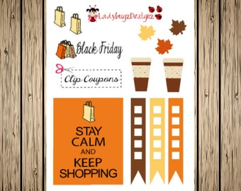 Black Friday Shopping Stickers for your Erin Condren Planner