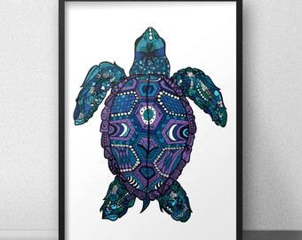 Turtle print / poster hand drawn zen styled patterned animal print / poster