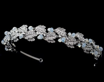 Bridal Leaf Headband, Crystal Leaf Headband, Silver Leaf Headband, Opal, Bridal Headpiece, Bridal Headband, Wedding Headband, Bridal Tiara