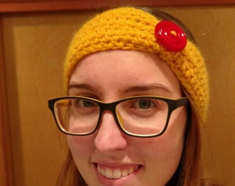 Crochet Headband with Button