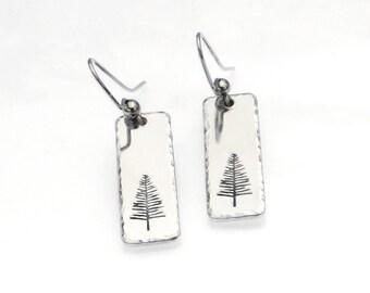 Christmas Earrings | Pine Tree Earrings | Hand Stamped Tree Earrings | Nature Jewelry | Hiker Gift | Hammered Earrings | Dangle Earrings