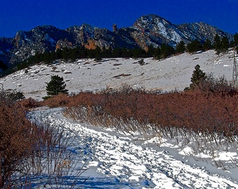 SB-Flatirons and South Mesa Trail in Winter Boulder, CO
