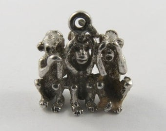 Three Wise Monkeys-Speak No Evil, Hear No Evil, See No Evil Sterling Silver Vintage Charm For Bracelet