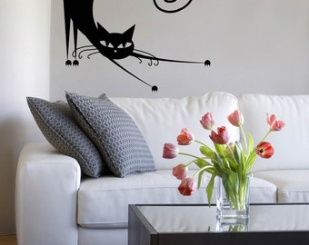 Cat Kitty Stretching Meow Cute Black Wall Decal