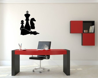 Black Chess Pieces Black Wall Decal