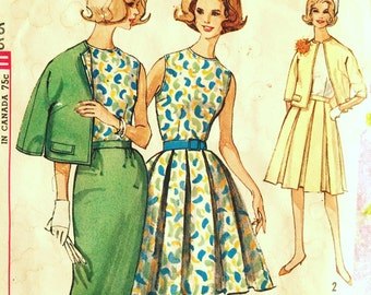 Early 1960's Vintage Sewing Pattern Jackie O Style Blouse, Skirts, Jacket