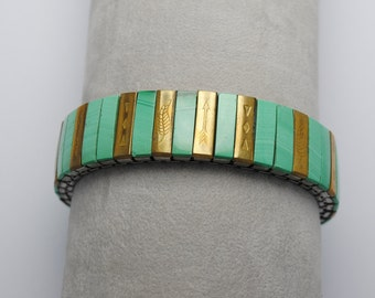 Malachite bracelet - extensible bracelet - boho bracelet - ethnic bracelet - vintage bracelet - metal engraved bracelet - iroquoise