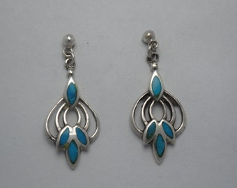 Turquoise and sterling silver earrings vintage