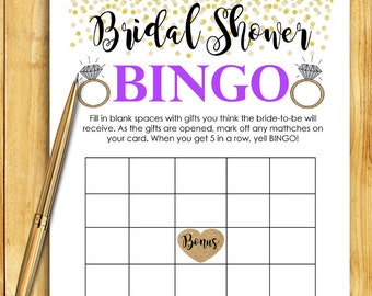 Bridal Shower Game Download - Bridal BINGO Game - PURPLE & GOLD - Instant Printable Digital Download - diy bachelorette party Printables