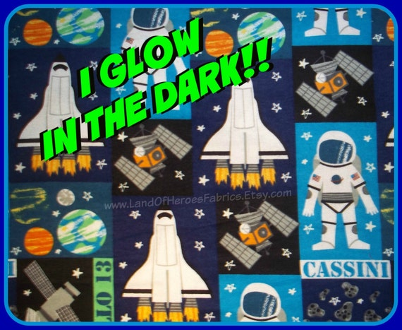 Glow in the dark flannel space fabric the space shuttle for Space flannel fabric