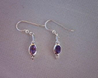 Amethyst & Sterling Silver Spear Earrings - #13