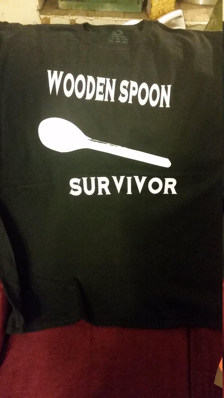 Wooden Spoon Survivor T-Shirt - Retro Adult Humor Shirt - Funny Gift ...