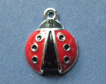 5 Lady Bug Charms - Lady Bug Pendants - Lady Bugs - Lady Bug - Bug Charm - Enamel Charm - 18mm x 14mm  --(No.73-10912)