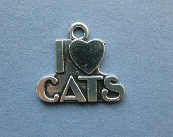 8 I Love Cats Charm - I Love Cats Pendant - Cat Charm - Animal Charm - Cat Lover - Antique Silver - 21mm x 23mm  -- (No.88-11163)