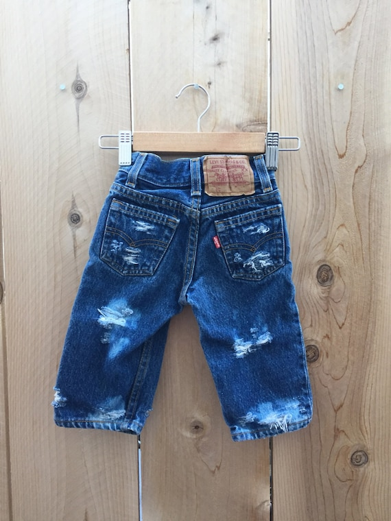 Baby Levi S 501 Distressed Denim Hipster Size 6 12m Infant