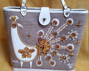 "Vintage 1960's Enid Collins ""Fine Feathers"" Purse, Bejeweled, Top-Handle"