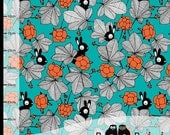 Organic Paapii Jersey Hilda in Turquoise Bunnies Orange Flowers - Scandi Fabric **UK seller** Sold by the Metre