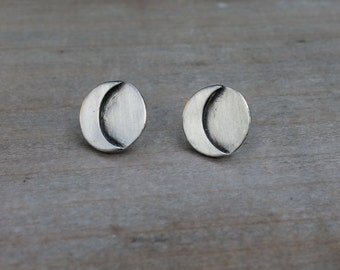 Sun and moon fine silver earrings