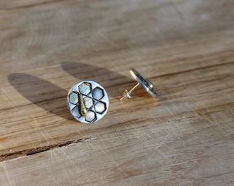 Honeycomb fine silver  - 22K gold earrings