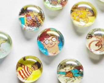 5 to 50 Where's Waldo? Upcycled Book Magnets