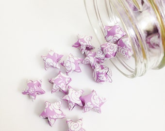 Clearance 19 Purple Rose Origami Stars: Mini Stars - Origami Star Decorations - Lavender Paper Stars - Gender Neutral Baby Shower Decoration