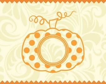 Pumpkin SVG Polka Dot for Monogram, Pumpkin Monogram svg, Pumpkin Stem SVG, Fall Monogram SVG, Pumpkin Svg, Pumpkin Stem, Cricut, Silhouette