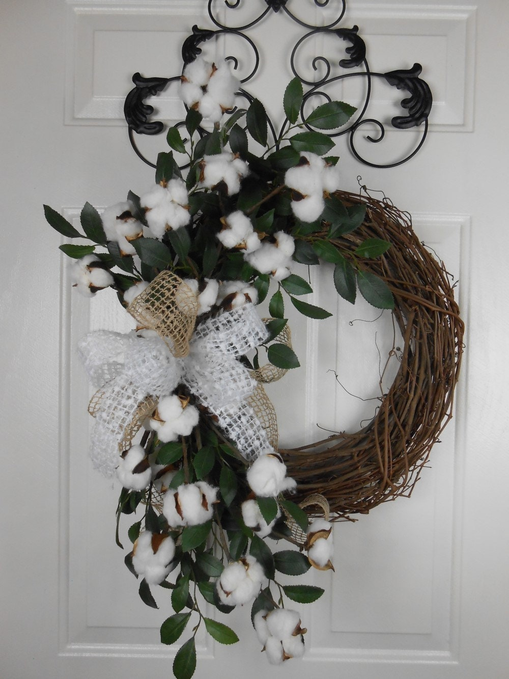 Southern Cotton Boll Wreath Cotton Wreath Rustic Wreath