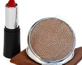 Mirror bag Compact Make-Up to two faces of Stingray skin accessories women Ganza on Etsy