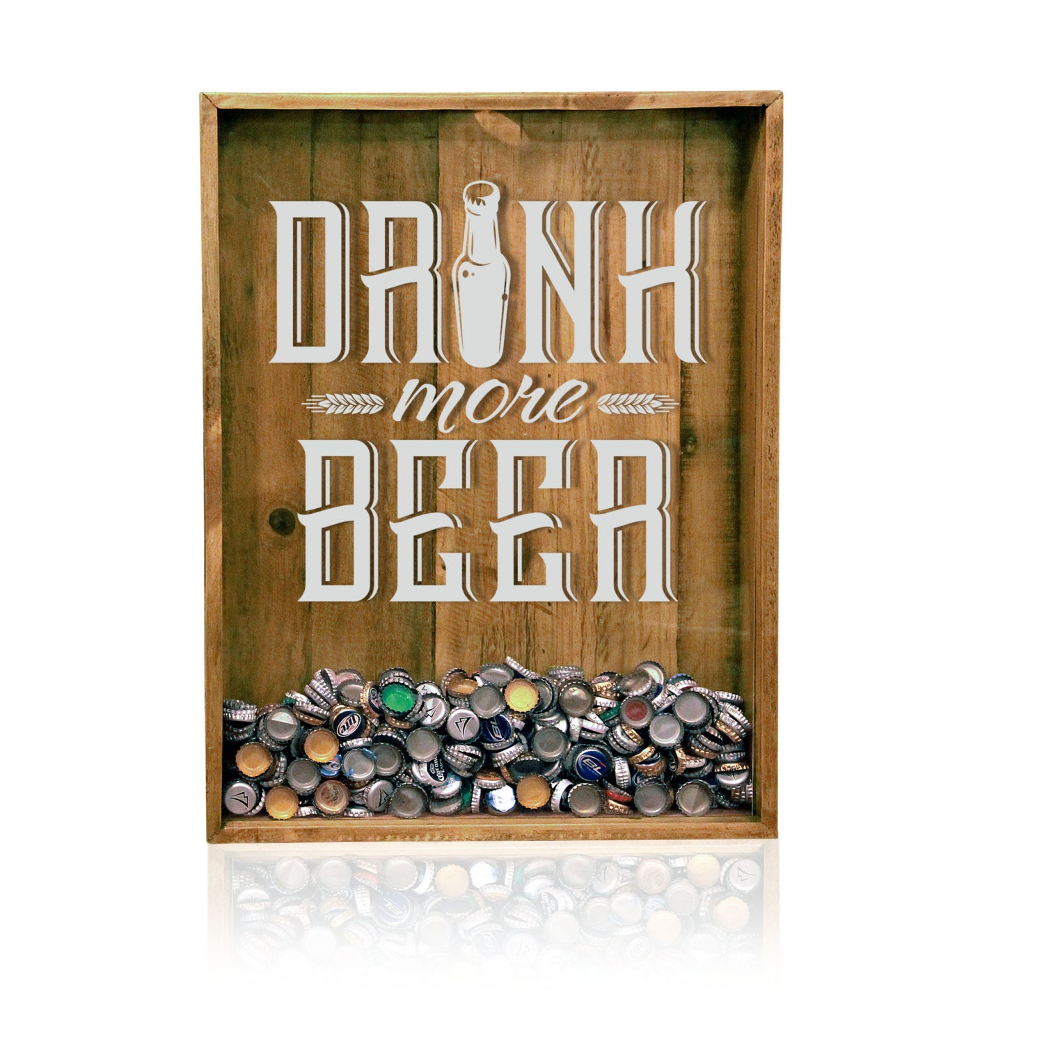18x24 reclaimed wood beer bottle cap holder wall decor for Beer bottle picture frame