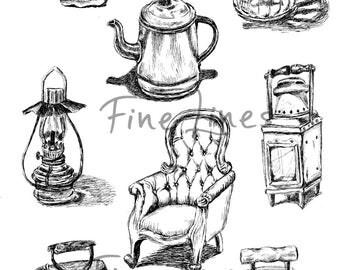 Antiques digital stamps, Antique clipart, Scrapbooking stemps, Craft supplies, coloring pages