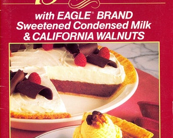 """1990 -- Nearly 100 """"Simply Sensational Desserts"""" by Eagle Brand - Sweetened Condensed Milk & Walnuts - Recipe Card Format"""