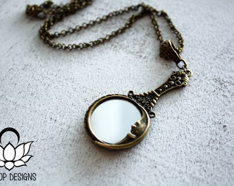 Mirror Necklace - Steampunk Antique Bronze Mirror Necklace - Steampunk Jewelry