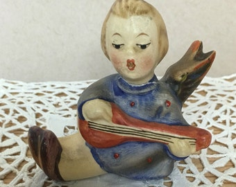 Vintage Hummel #38 Girl in Blue Dress Angel Playing Lute Figurine Candle Holder - Germany